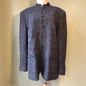 Doncaster Wool Asian Inspired Textured Long Blazer
